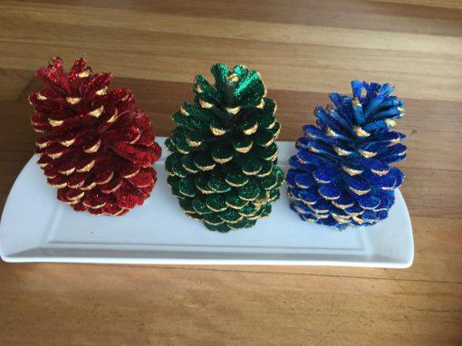Xmas Pine Cones on a Tray